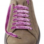 Lacets chaussures Lurex rose 130cm