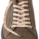 Lacets chaussures Fleurs beige et mauve 130cm