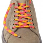 Lacets chaussures Pied de poule orange et rose 130cm