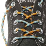 Lacets chaussures élastiques bleu ciel et orange 90cm