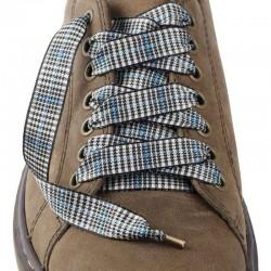 Lacets chaussures Prince de Galles noir lurex bleu 130cm
