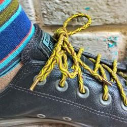 Lacets chaussures élastiques marron et vert 130cm