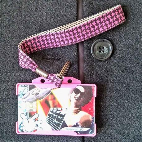 Dragonne porte carte / badge Pied poule Rayures rose et noir