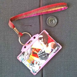 Dragonne porte carte / badge Lurex rouge et or