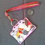 Dragonne porte carte / badge Lurex rouge et or