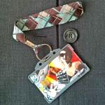Dragonne porte carte / badge Écossais marron et bleu