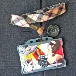 Dragonne porte carte / badge Écossais beige et noir