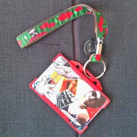 Dragonne porte carte / badge fleurs Coquelicot