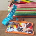 Dragonne porte carte / badge Pois bleu et orange