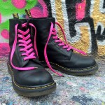 Lacets chaussures Peau serpent rose 130cm