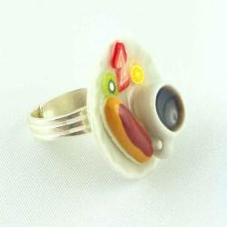Bague résine goûter café / éclair