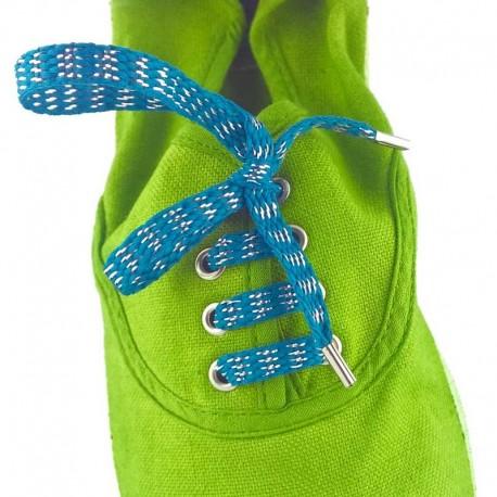 Lacets chaussures Rayures bleu lurex argent 60cm