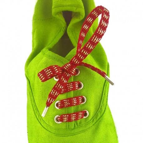 Lacets chaussures Rayures bordeaux lurex or 60cm