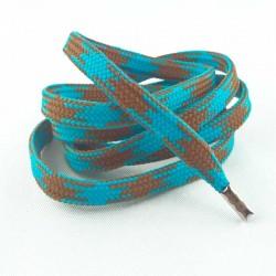 Lacets chaussures Pied de poule marron et bleu 90cm