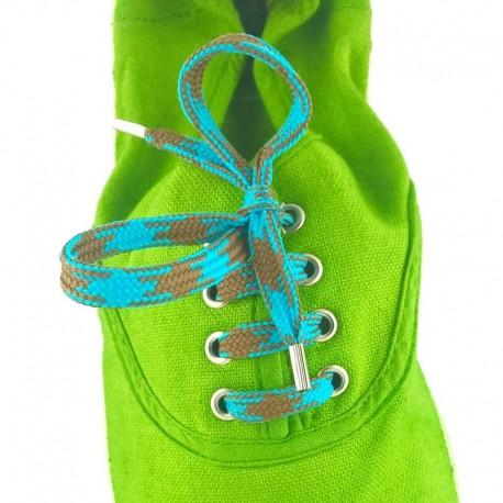 Lacets chaussures Pied de poule marron et bleu 60cm