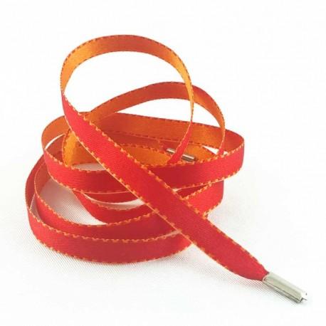 Lacets chaussures Satin rouge et orange 90cm