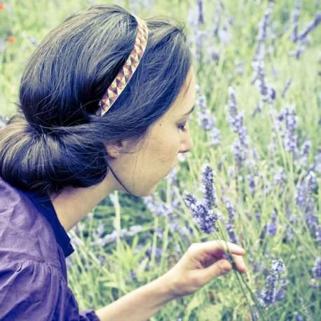 Bandeau de tête cheveux élastique Mosaïque triangles lurex cuivre