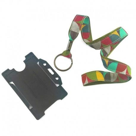 Tour de cou porte-badge Mosaïque kaki