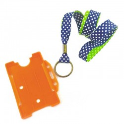 Tour de cou porte-badge Pois marine