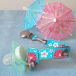 Porte-tétine fille fleurs Japon