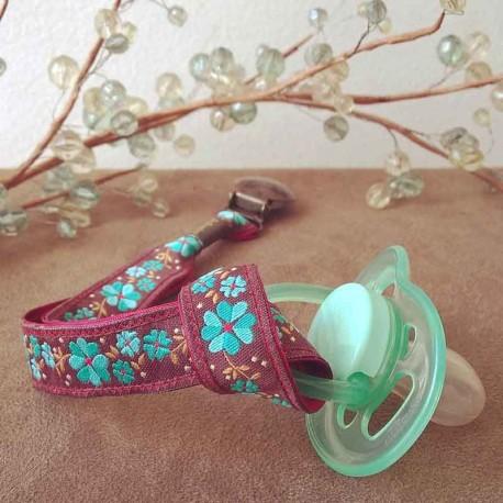 attache-tetine-fleur-turquoise