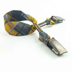 Attache-doudou/serviette Écossais jaune