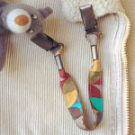 Attache-doudou/serviette Mosaïque kaki turquoise