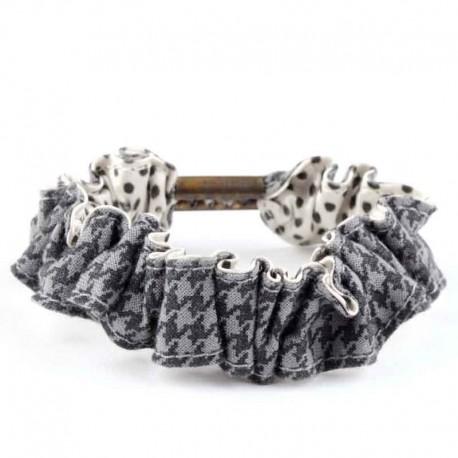 chouchou lastique cheveux ruban pied de poule gris et noir. Black Bedroom Furniture Sets. Home Design Ideas