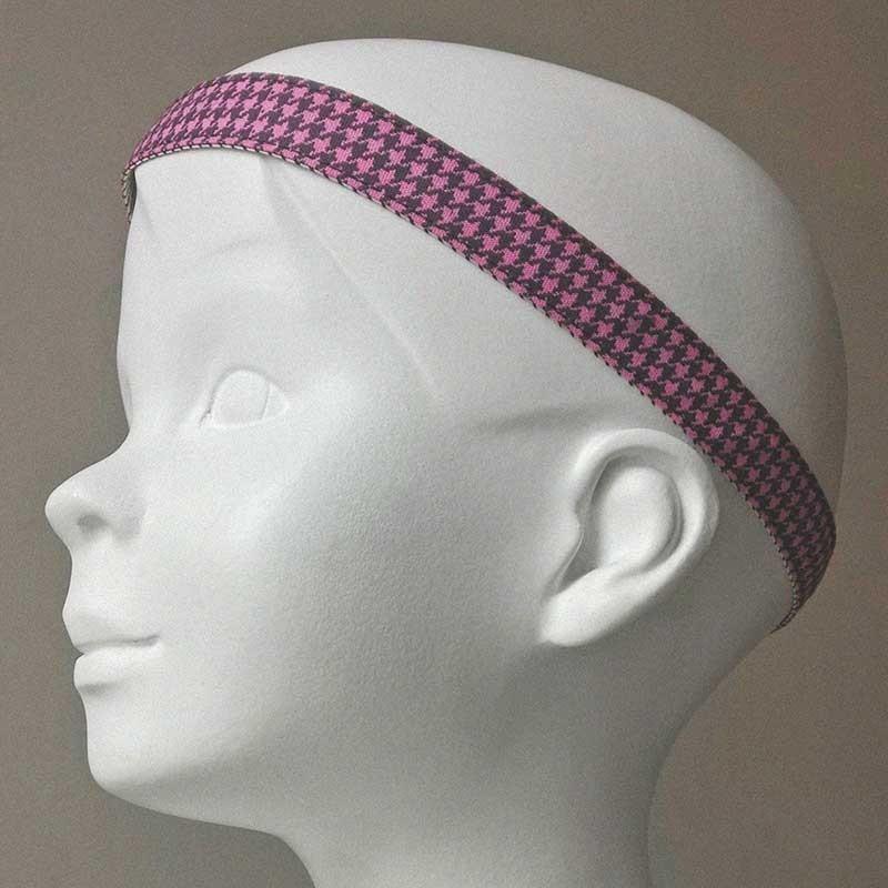 bandeau cheveux de t te enfant lastique tissu pied de poule rose. Black Bedroom Furniture Sets. Home Design Ideas