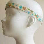 Bandeau tête enfant fleurs beige