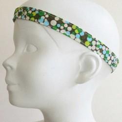 Bandeau tête enfant Pois vert et bleu