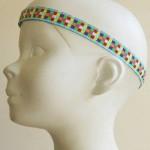 Bandeau tête enfant Mosaïque bleu