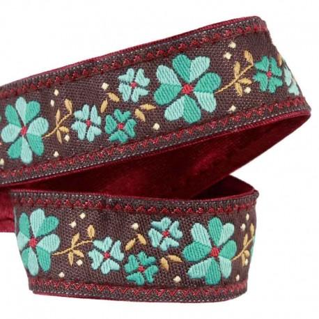 ruban-fleur-marron-turquoise