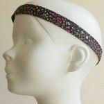 Bandeau tête enfant fleurs rose et noir