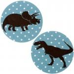 Thermocollants dinosaures Tyrannosaure/Tricératops pois bleu