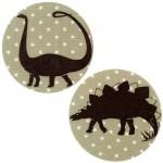 Thermocollants dinosaures Diplodocus/Stégosaure pois beige