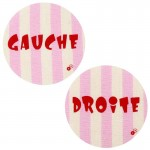 Thermocollants Gauche / Droite rayures rose