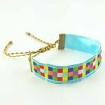 Bracelet ruban Mosaïque bleu