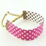 Bracelet ruban Pois rose