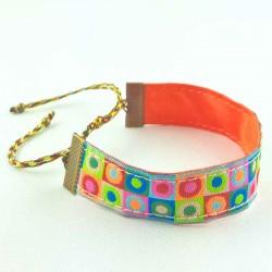 bracelet-ruban-pois-multicolore