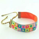Bracelet ruban Pois fluo multicolore