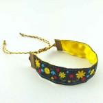 Bracelet ruban fleurs jaune et noir