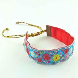 Bracelet ruban fleurs rouge et bleu