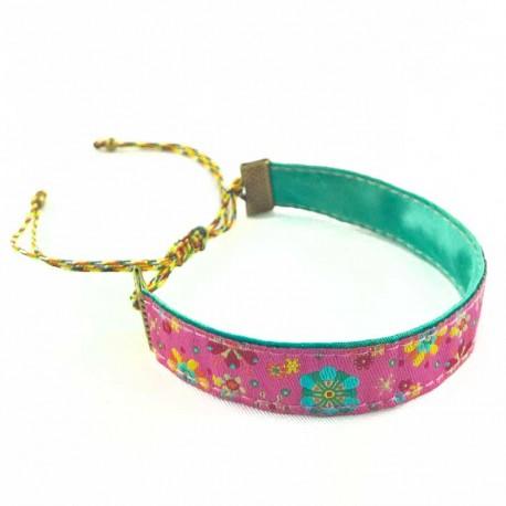 bracelet-ruban-fleur-rose