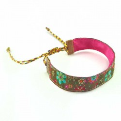 Bracelet ruban fleurs kaki lurex