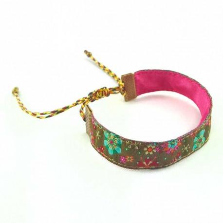 bracelet-ruban-fleur-kaki