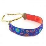 Bracelet ruban fleurs bleu lurex