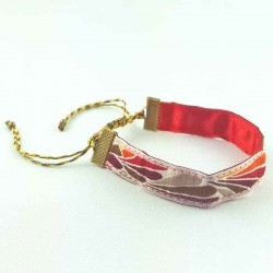 Bracelet ruban Plume rouge