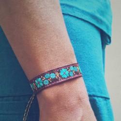 Bracelet ruban fleurs turquoise