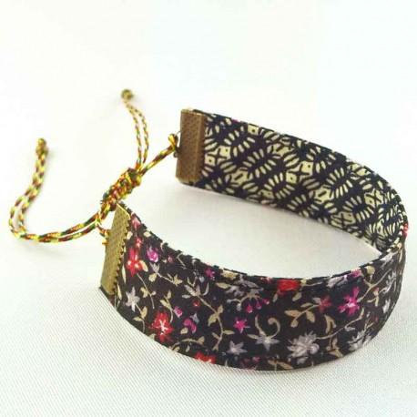 bracelet-ruban-fleur-noir